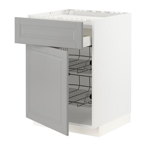 METOD/MAXIMERA - 爐具地櫃連抽屜/2鋼條籃, white/Bodbyn grey | IKEA 香港及澳門 - PE795868_S4