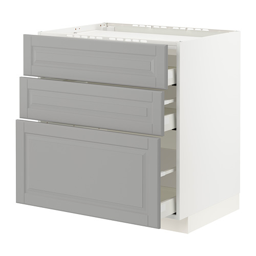 METOD/MAXIMERA - base cab f hob/3 fronts/3 drawers, white/Bodbyn grey | IKEA Hong Kong and Macau - PE795842_S4