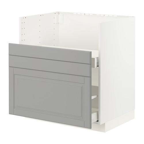 METOD/MAXIMERA - BREDSJÖN星盆用地櫃/2面板/2抽屜, white/Bodbyn grey   IKEA 香港及澳門 - PE795859_S4