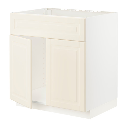 METOD - base cabinet f sink w 2 doors/front, white/Bodbyn off-white | IKEA Hong Kong and Macau - PE795900_S4