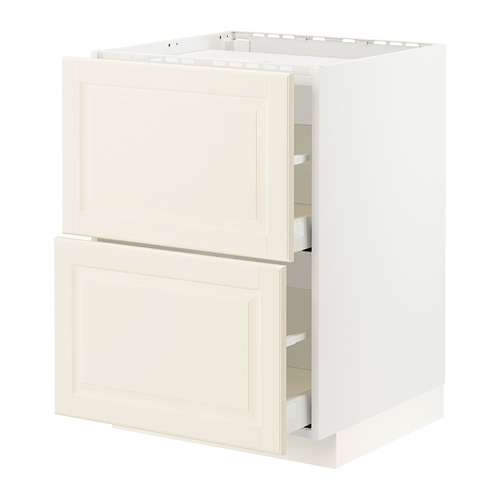METOD/MAXIMERA - base cab f hob/2 fronts/2 drawers, white/Bodbyn off-white | IKEA Hong Kong and Macau - PE795907_S4