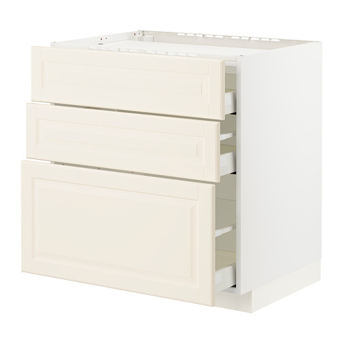METOD/MAXIMERA - base cab f hob/3 fronts/3 drawers, white/Bodbyn off-white | IKEA Hong Kong and Macau - PE795911_S4