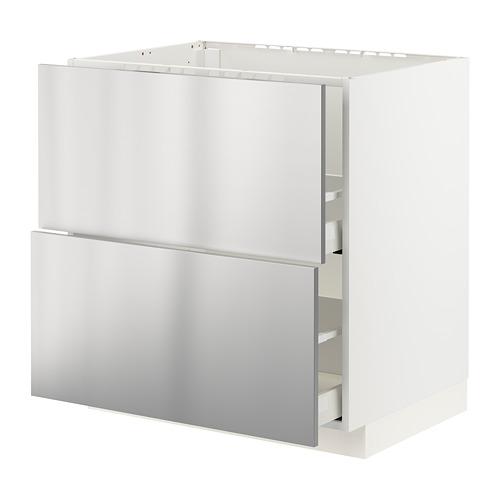 METOD/MAXIMERA - base cab f sink+2 fronts/2 drawers, white/Vårsta stainless steel | IKEA Hong Kong and Macau - PE795946_S4