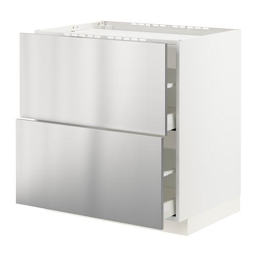 METOD/MAXIMERA - base cab f hob/2 fronts/2 drawers, white/Vårsta stainless steel | IKEA Hong Kong and Macau - PE795947_S4
