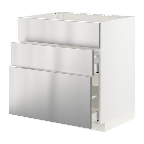 METOD/MAXIMERA - base cab f sink+3 fronts/2 drawers, white/Vårsta stainless steel | IKEA Hong Kong and Macau - PE795948_S4