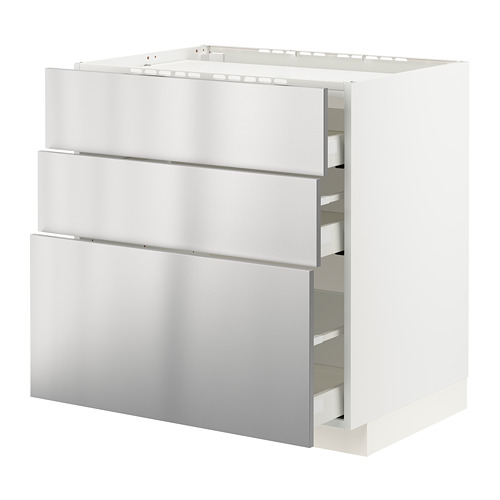 METOD/MAXIMERA - 爐具地櫃連3面板/3抽屜, white/Vårsta stainless steel | IKEA 香港及澳門 - PE795950_S4