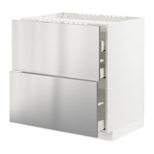 METOD/MAXIMERA - base cab f hob/2 fronts/3 drawers, white/Vårsta stainless steel | IKEA Hong Kong and Macau - PE795949_S4