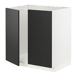 METOD - 星盆用地櫃連一對門, 白色/Uddevalla 炭黑色   IKEA 香港及澳門 - PE795951_S3