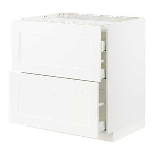 METOD/MAXIMERA - base cab f hob/2 fronts/3 drawers, white/Sävedal white   IKEA Hong Kong and Macau - PE796011_S4