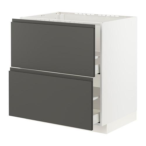 METOD/MAXIMERA - 星盆用地櫃連2面板/2抽屜, white/Voxtorp dark grey | IKEA 香港及澳門 - PE796073_S4