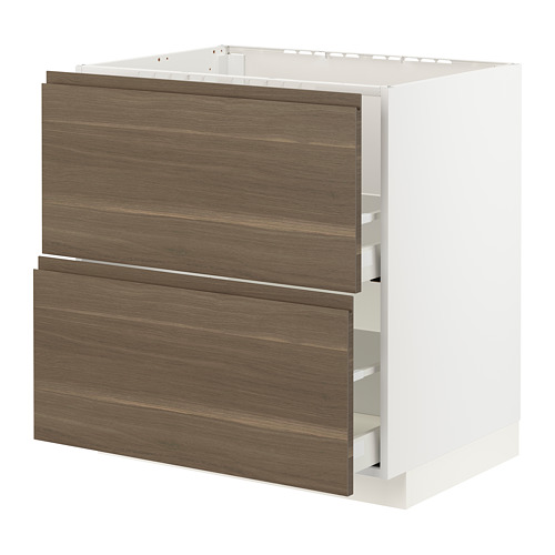 METOD/MAXIMERA - base cab f sink+2 fronts/2 drawers, white/Voxtorp walnut effect | IKEA Hong Kong and Macau - PE796088_S4