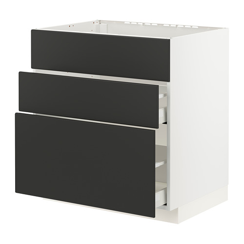METOD/MAXIMERA - base cab f sink+3 fronts/2 drawers, white/Kungsbacka anthracite | IKEA Hong Kong and Macau - PE796066_S4