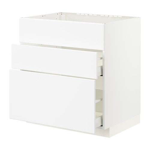METOD/MAXIMERA - 星盆用地櫃連3面板/2抽屜, white/Kungsbacka matt white | IKEA 香港及澳門 - PE796067_S4