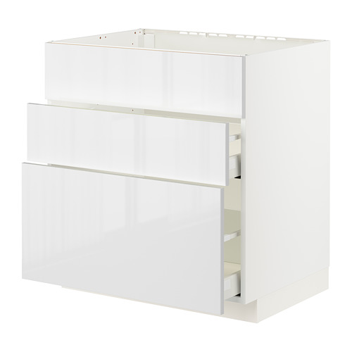 METOD/MAXIMERA - base cab f sink+3 fronts/2 drawers, white/Ringhult white | IKEA Hong Kong and Macau - PE796081_S4