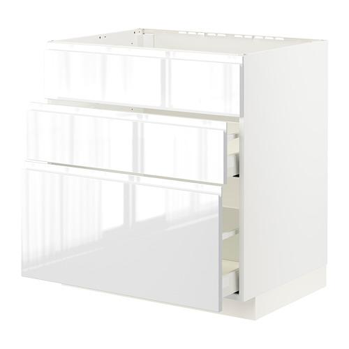 METOD/MAXIMERA - 星盆用地櫃連3面板/2抽屜, white/Voxtorp high-gloss/white | IKEA 香港及澳門 - PE796070_S4