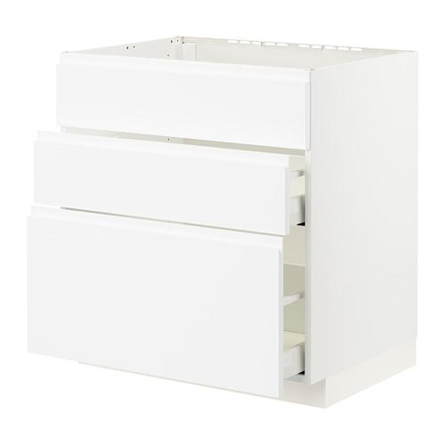 METOD/MAXIMERA - base cab f sink+3 fronts/2 drawers, white/Voxtorp matt white | IKEA Hong Kong and Macau - PE796089_S4
