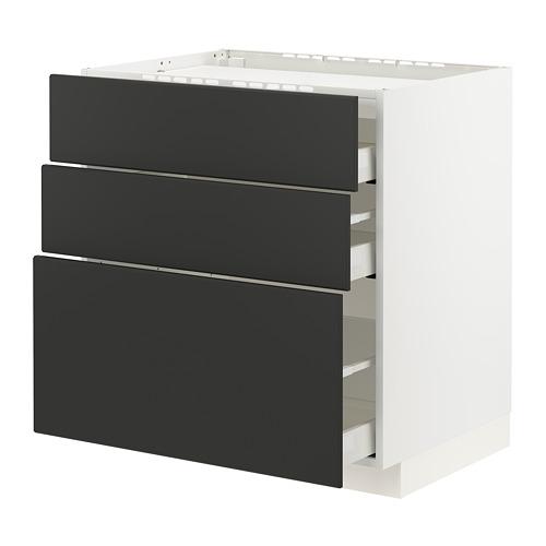 METOD/MAXIMERA - 爐具地櫃連3面板/3抽屜, white/Kungsbacka anthracite | IKEA 香港及澳門 - PE796059_S4