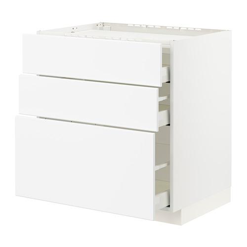 METOD/MAXIMERA - base cab f hob/3 fronts/3 drawers, white/Kungsbacka matt white | IKEA Hong Kong and Macau - PE796063_S4
