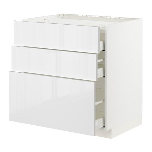 METOD/MAXIMERA - base cab f hob/3 fronts/3 drawers, white/Ringhult white   IKEA Hong Kong and Macau - PE796112_S4