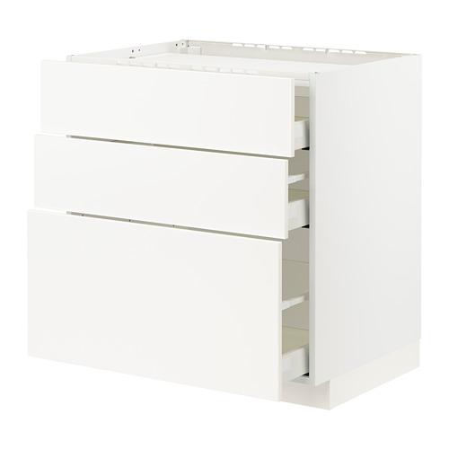 METOD/MAXIMERA - base cab f hob/3 fronts/3 drawers, white/Veddinge white | IKEA Hong Kong and Macau - PE796114_S4