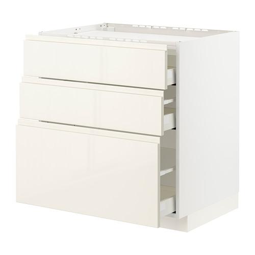 METOD/MAXIMERA - 爐具地櫃連3面板/3抽屜, white/Voxtorp high-gloss light beige   IKEA 香港及澳門 - PE796091_S4