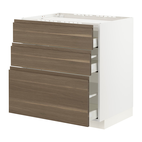 METOD/MAXIMERA - base cab f hob/3 fronts/3 drawers, white/Voxtorp walnut effect | IKEA Hong Kong and Macau - PE796092_S4