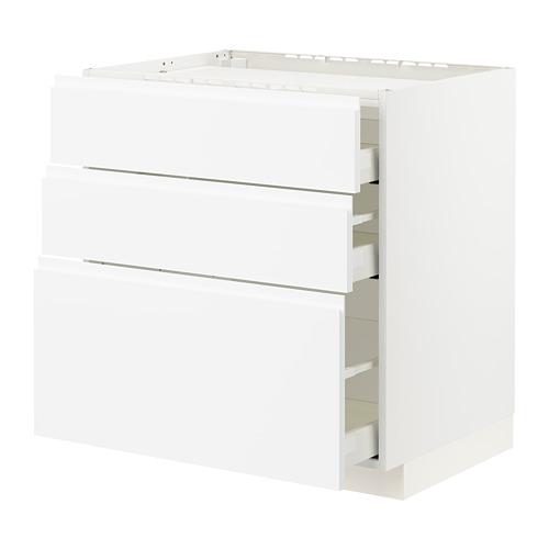 METOD/MAXIMERA - 爐具地櫃連3面板/3抽屜, white/Voxtorp matt white | IKEA 香港及澳門 - PE796107_S4