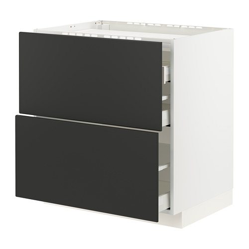 METOD/MAXIMERA - 爐具地櫃連2面板/3抽屜, white/Kungsbacka anthracite   IKEA 香港及澳門 - PE796095_S4