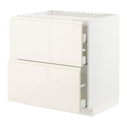 METOD/MAXIMERA - base cab f hob/2 fronts/3 drawers, white/Voxtorp high-gloss light beige | IKEA Hong Kong and Macau - PE796117_S4