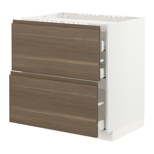 METOD/MAXIMERA - base cab f hob/2 fronts/3 drawers, white/Voxtorp walnut effect | IKEA Hong Kong and Macau - PE796128_S4