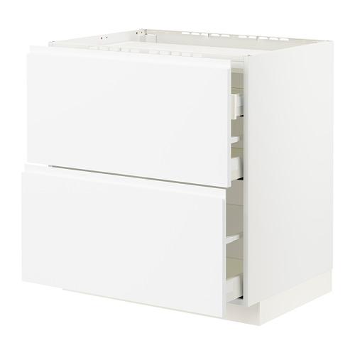 METOD/MAXIMERA - 爐具地櫃連2面板/3抽屜, white/Voxtorp matt white   IKEA 香港及澳門 - PE796098_S4