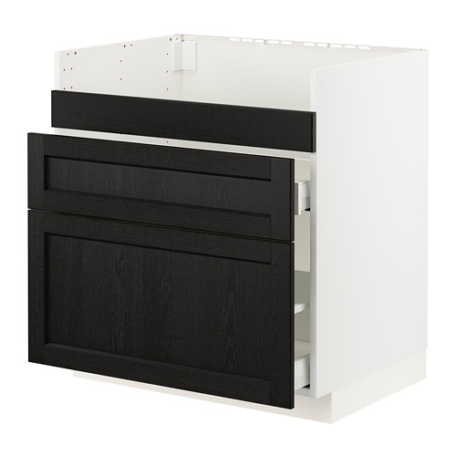 METOD/MAXIMERA - base cb f HAVSEN snk/3 frnts/2 drws, white/Lerhyttan black stained | IKEA Hong Kong and Macau - PE796126_S4