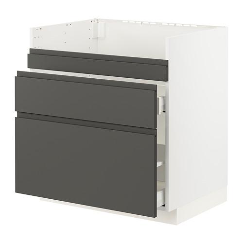 METOD/MAXIMERA - base cb f HAVSEN snk/3 frnts/2 drws, white/Voxtorp dark grey | IKEA Hong Kong and Macau - PE796056_S4