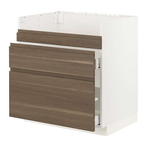 METOD/MAXIMERA - base cb f HAVSEN snk/3 frnts/2 drws, white/Voxtorp walnut effect | IKEA Hong Kong and Macau - PE796130_S4