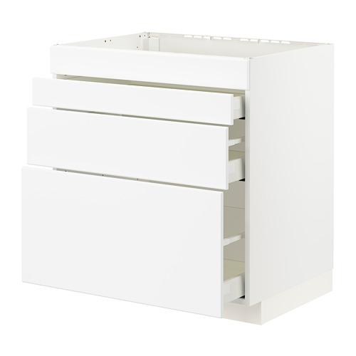 METOD/MAXIMERA - 爐具地櫃連4面板/3抽屜, white/Kungsbacka matt white | IKEA 香港及澳門 - PE796042_S4