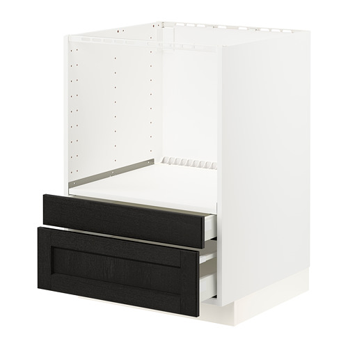 METOD/MAXIMERA - base cabinet f combi micro/drawers, white/Lerhyttan black stained | IKEA Hong Kong and Macau - PE796139_S4