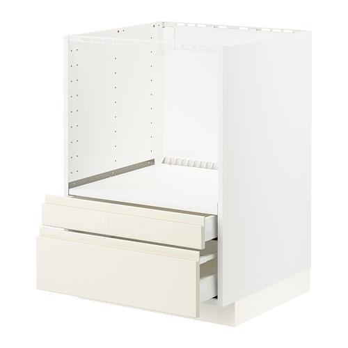 METOD/MAXIMERA - 微波爐用地櫃組合/抽屜, white/Voxtorp high-gloss light beige   IKEA 香港及澳門 - PE796144_S4