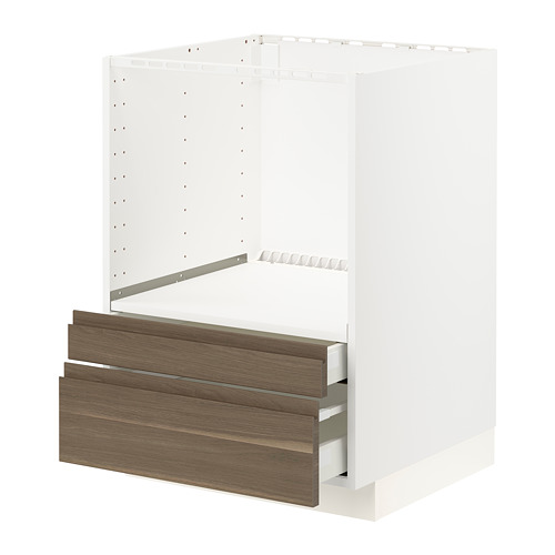 METOD/MAXIMERA - base cabinet f combi micro/drawers, white/Voxtorp walnut effect | IKEA Hong Kong and Macau - PE796141_S4