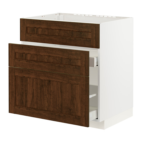 METOD/MAXIMERA - 星盆用地櫃連3面板/2抽屜, white/Edserum brown | IKEA 香港及澳門 - PE796178_S4