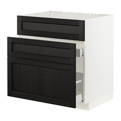METOD/MAXIMERA - base cab f sink+3 fronts/2 drawers, white/Lerhyttan black stained | IKEA Hong Kong and Macau - PE796157_S4