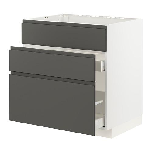 METOD/MAXIMERA - 星盆用地櫃連3面板/2抽屜, white/Voxtorp dark grey | IKEA 香港及澳門 - PE796159_S4