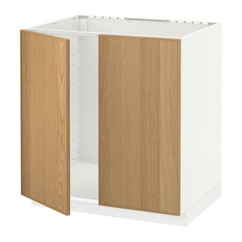 METOD base cabinet for sink + 2 doors