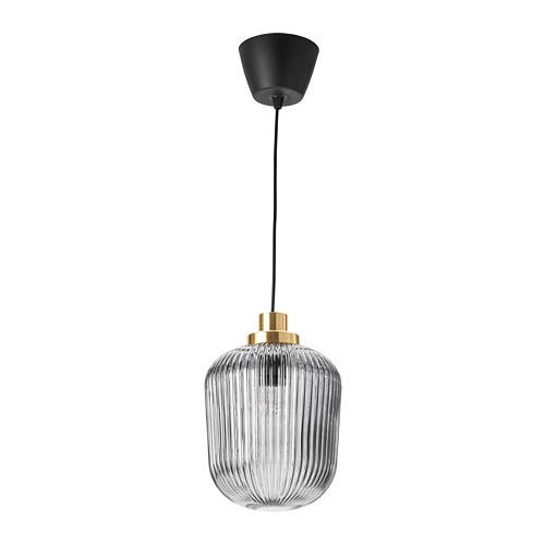 SOLKLINT - pendant lamp, brass/grey clear glass | IKEA Hong Kong and Macau - PE778948_S4