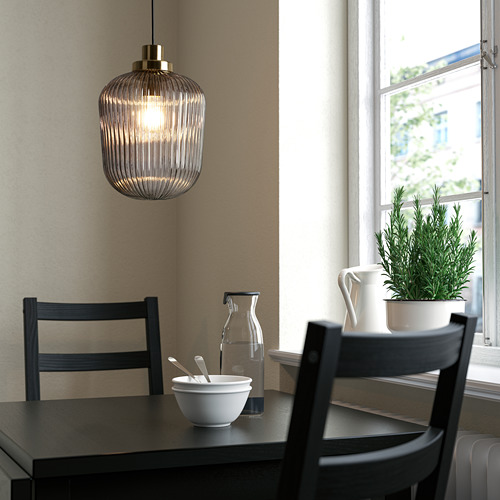 SOLKLINT - pendant lamp, brass/grey clear glass | IKEA Hong Kong and Macau - PE778950_S4