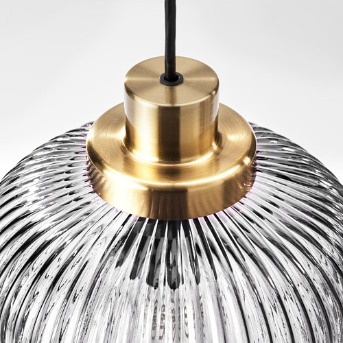 SOLKLINT - pendant lamp, brass/grey clear glass | IKEA Hong Kong and Macau - PE778949_S4