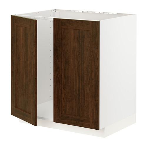 METOD - base cabinet for sink + 2 doors, white/Edserum brown | IKEA Hong Kong and Macau - PE796213_S4