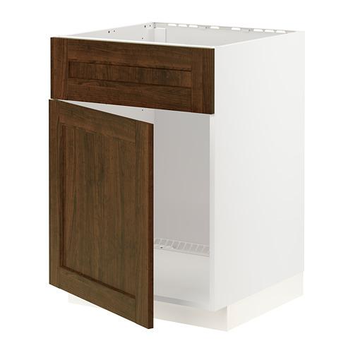 METOD - base cabinet f sink w door/front, white/Edserum brown | IKEA Hong Kong and Macau - PE796232_S4
