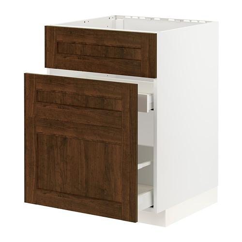 METOD/MAXIMERA - base cab f sink+3 fronts/2 drawers, white/Edserum brown | IKEA Hong Kong and Macau - PE796228_S4