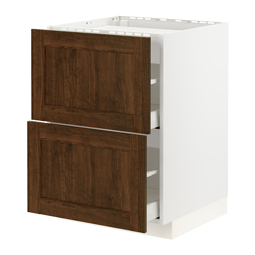 METOD/MAXIMERA - base cab f hob/2 fronts/2 drawers, white/Edserum brown | IKEA Hong Kong and Macau - PE796296_S4