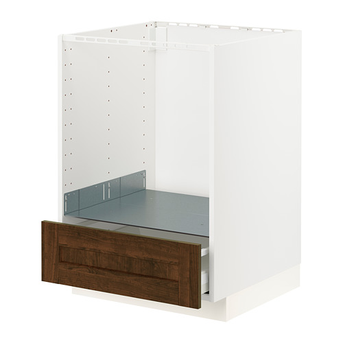 METOD/MAXIMERA - base cabinet for oven with drawer, white/Edserum brown | IKEA Hong Kong and Macau - PE796245_S4